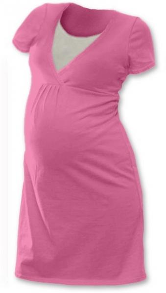 Tehotenská dojčiaca nočná košeľa JOHANKA krátky rukáv - ružová