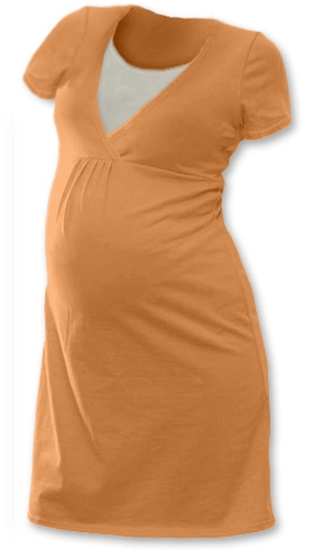 Tehotenská, dojčiace nočná košeľa JOHANKA krátky rukáv - sv. oranžová
