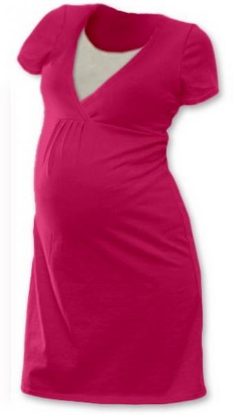 JOŽÁNEK Tehotenská, dojčiace nočná košeľa JOHANKA krátky rukáv - sýto ružová-L/XL