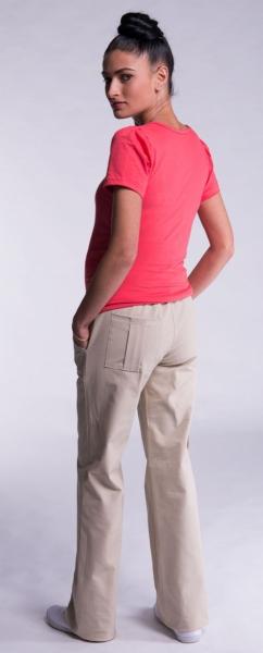 Tehotenské nohavice s bočným vreckom - biele