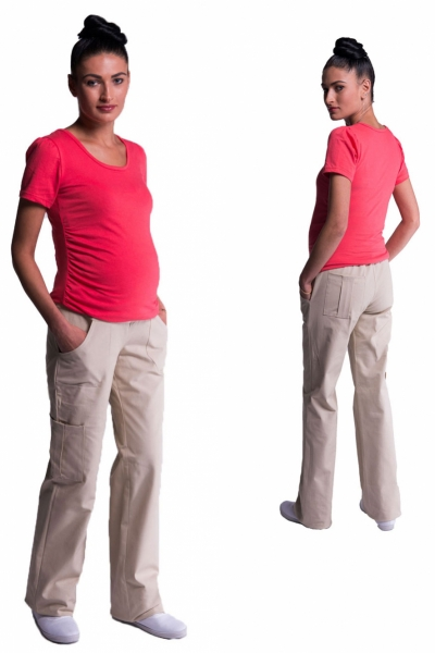 Be MaaMaa Tehotenské nohavice s bočnou vreckom - tm. béžová