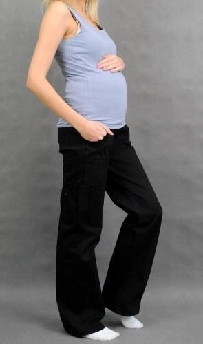 Be MaaMaa Tehotenské nohavice s bočnou vreckom - čierna