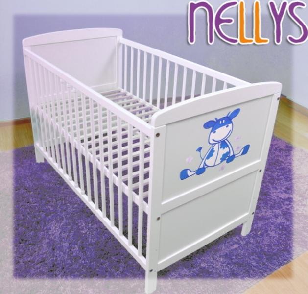 Drevená postieľka Nellys biela - Kravička modrá