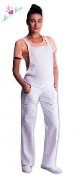 Tehotenské nohavice na traky biele