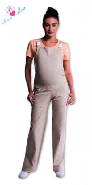 Tehotenské nohavice na traky béžové