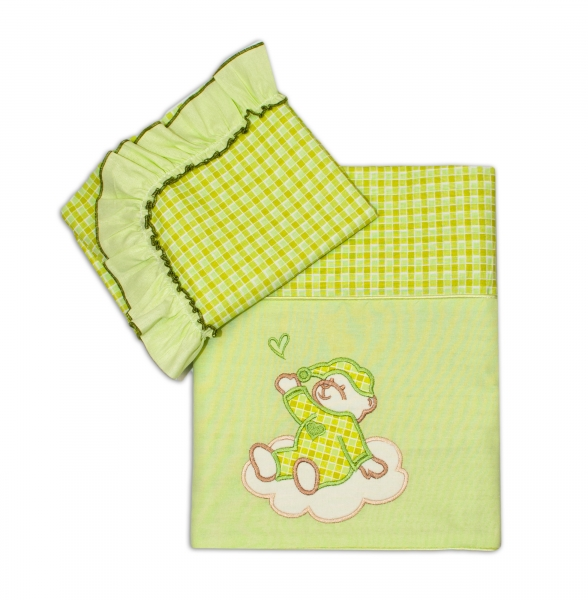 Mamo Tato 2D Luxusný set/povlečení do kočíka - Medvedík na mráčika zelená kocka