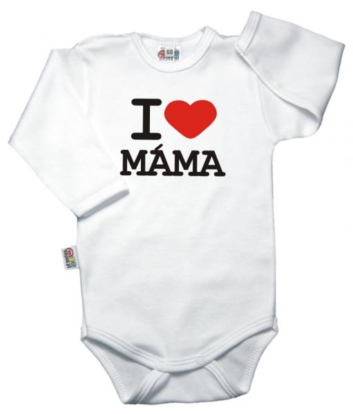 Body dl. rukáv Kolekcia I Love Mama - biele, vel´. 80