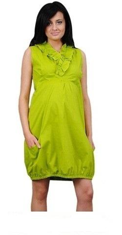 Tehotenské šaty TULIPÁNEK - limetka
