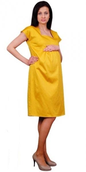 Tehotenské šaty ELA - horčica