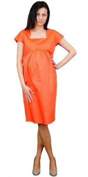 Tehotenské šaty ELA - oranžová-XL