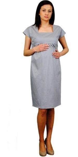 79c92ac3fb40 Tehotenské šaty ELA - oceľová XL