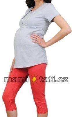 Be MaaMaa Tehotenské farebné legíny 3/4 dĺžky - korálova