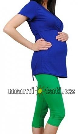 Be MaaMaa Tehotenské farebné legíny 3/4 dĺžky - zelená