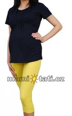 Be MaaMaa Tehotenské farebné legíny 3/4 dĺžky - žltá