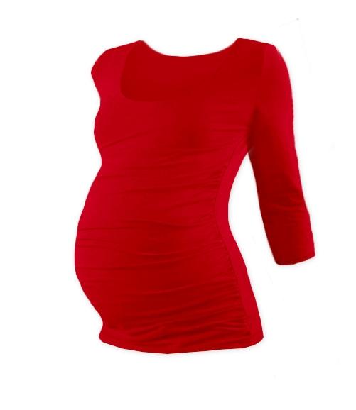 Tehotenské tričko 3/4 rukáv JOHANKA - červená