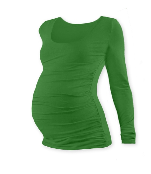 JOŽÁNEK Tehotenské tričko Johanka s dlhým rukávom - tmavo zelená