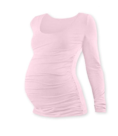 Tehotenské tričko JOHANKA s dlhým rukávom - sv. ružová