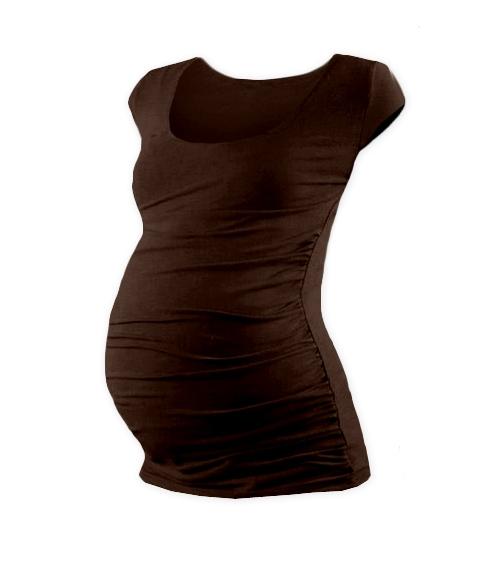 Tehotenské tričko mini rukáv JOHANKA - čokohnědá
