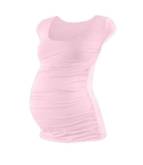 Tehotenské tričko mini rukáv JOHANKA - svetlo ružová