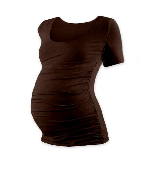 Tehotenské tričko krátky rukáv JOHANKA - čokohnedá