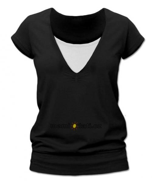 Dojčiace tehotenské tričko JULIE - čierna