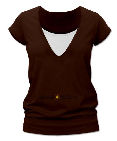 Dojčiace tehotenské tričko JULIE - Čokohnedá