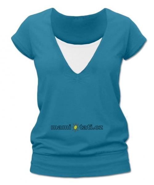 Dojčiace tehotenské tričko JULIE - petrolejová