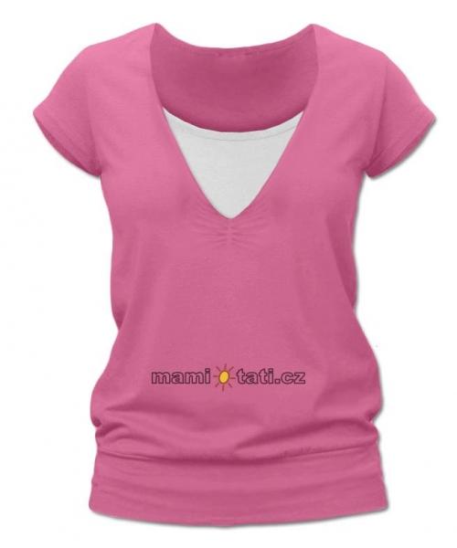 Dojčiace tehotenské tričko JULIE - ružová