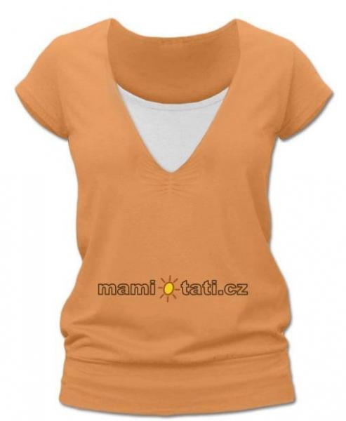 Dojčiace, tehotenské tričko JULIE - sv. oranžová