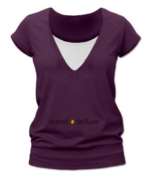 Dojčiace tehotenské tričko JULIE - švestková