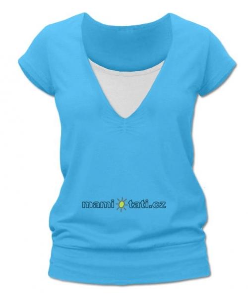 Dojčiace tehotenské tričko JULIE - tyrkys