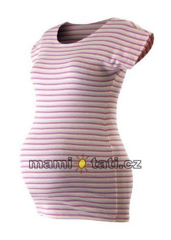 Tehotenské tričko krátky rukáv PROUŽEKK - ružová-biela