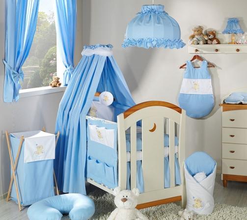 Luxusný 5D set s nebesami z celej látky Mamo Tato - Mráček modrý
