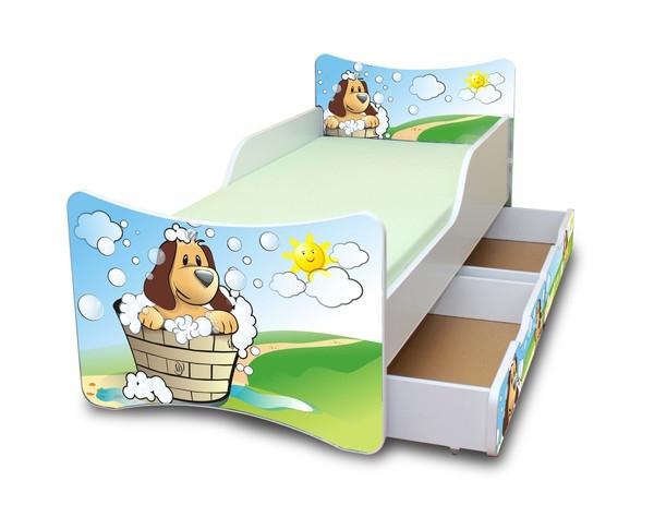 Detská posteľ so zábranou a šuplík/yHafík, 200x90 cm-200x90