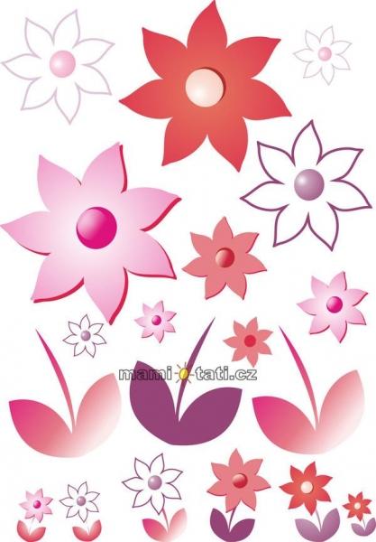 Nálepky, dekorácie na stenu 70x100 cm - Kvetinky