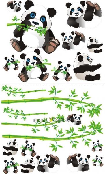 Nálepky, dekorácie na stenu 70x100 cm - Panda