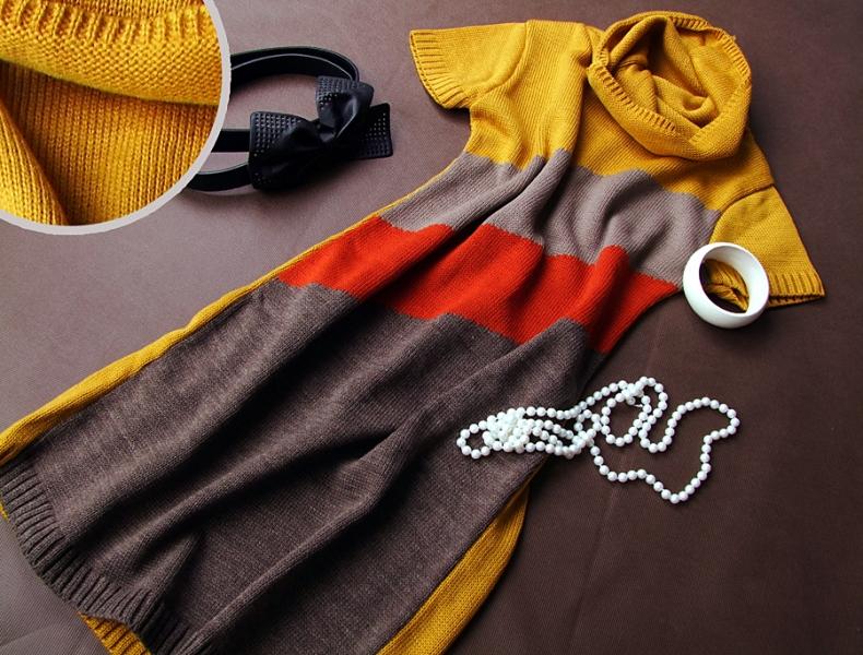 Tehotenská svetrové rolákové tunika JULIE - horčica-čierna-šedá