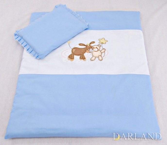 Set do kočíka s výšivkou lux 4D - Oslík a medvedík - modrý, 4 dílná