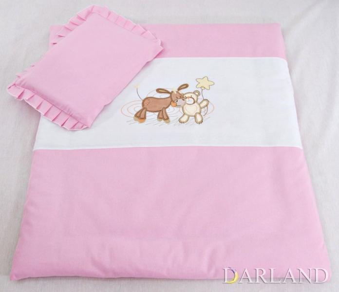Set do kočíka s výšivkou lux 4D - Oslík a medvedík - ružový, 4 dílná