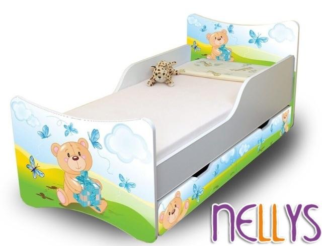 Detská posteľ so zábranou a šuplík/y Míša Dáreček New, 160x90 cm-160x90