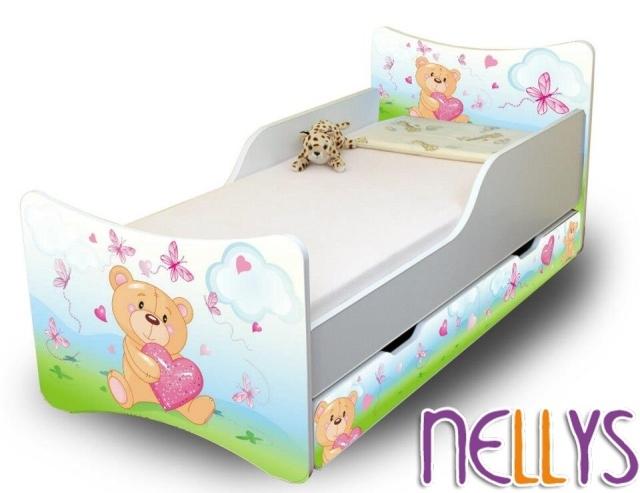 Detská posteľ a šuplík / y Míša Srdce New, 160x70