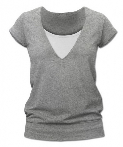Dojčiace tehotenské tričko JULIE - šedý melír