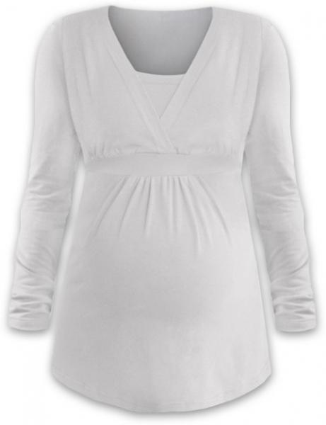 JOŽÁNEK Dojčiace aj tehotenská tunika ANIČKA s dlhým rukávom - smotanová-S/M