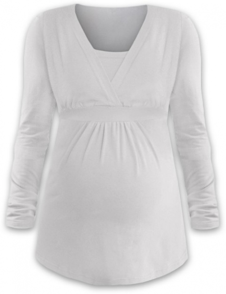 Dojčiace aj tehotenská tunika ANIČKA s dlhým rukávom - smotanová
