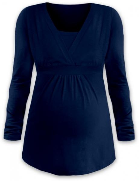 JOŽÁNEK Dojčiace aj tehotenská tunika ANIČKA s dlhým rukávom - jeans-S/M