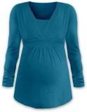JOŽÁNEK Dojčiace aj tehotenská tunika ANIČKA s dlhým rukávom - petrolejová-M/L