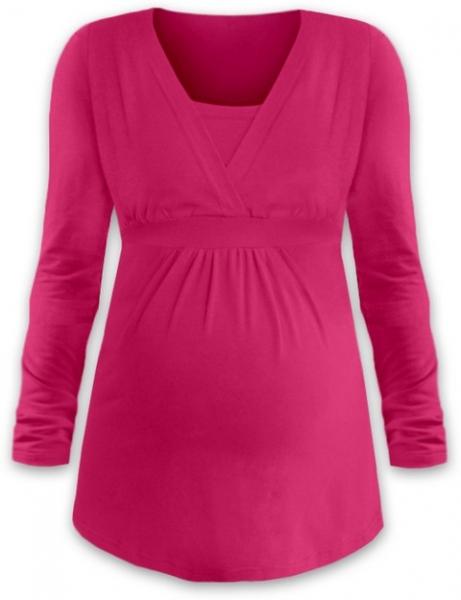 Dojčiace tehotenské tričko ANIČKA dl. rukáv - syto ružová