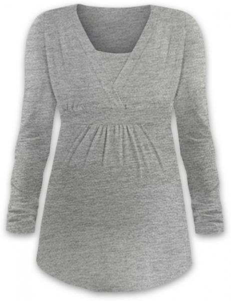 Dojčiace tehotenské tričko ANIČKA dl. rukáv - šedý melír