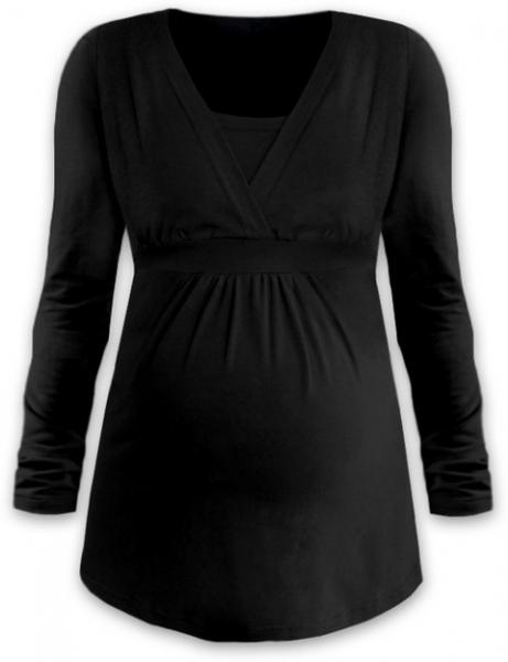 JOŽÁNEK Dojčiace aj tehotenská tunika ANIČKA s dlhým rukávom - čierna, veľ. M/L