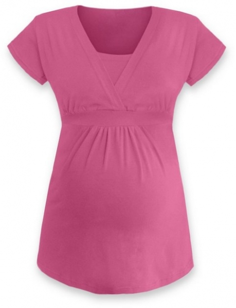 Dojčiace, tehotenská tunika ANIČKA krátky rukáv - ružová-S/M